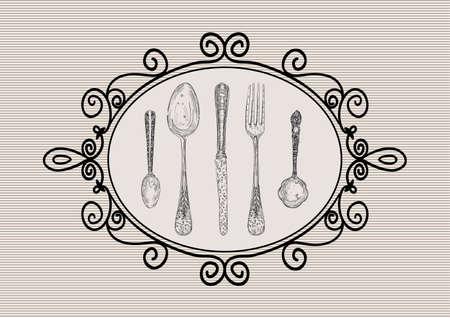 cubiertos de plata: Vintage mano dibuja iconos de platería antigua ilustración marco. en capas para la manipulación fácil y colorante de encargo.