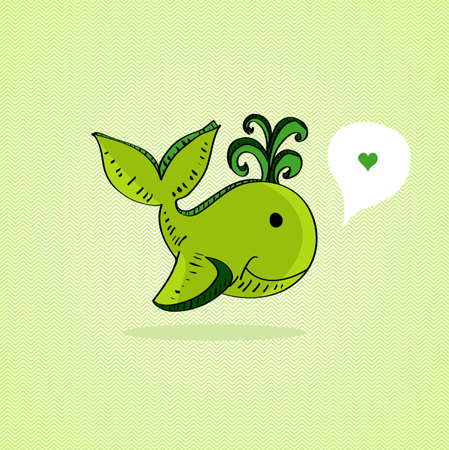 Hand drawn green whale, love social media bubble. layered for easy editing Vector