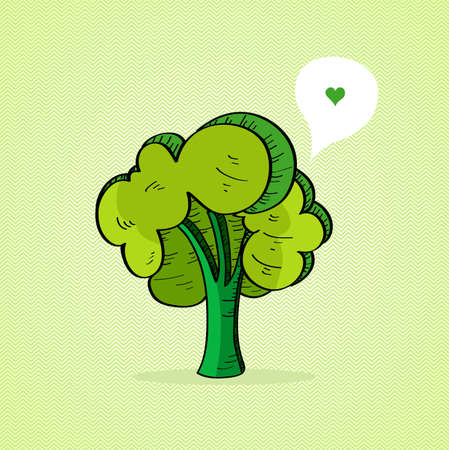 hands in the air: Sketch style green tree, love social media bubble