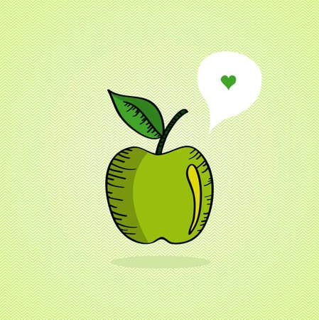 heart tone: Dibujado a mano verde manzana, amor burbuja social media