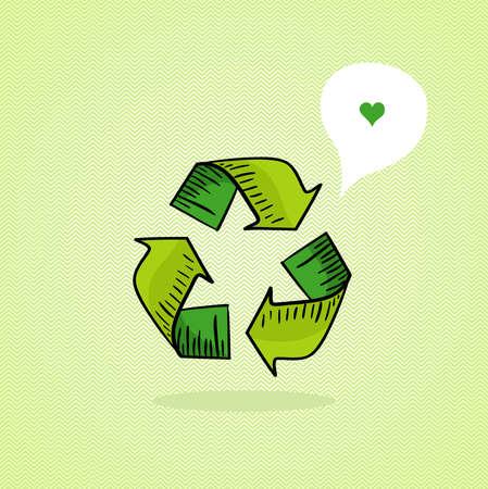 Hand drawn green recycle icon, love social media bubble   Vector