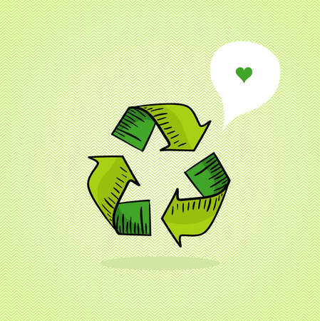 clean air: Hand drawn green recycle icon, love social media bubble   Illustration