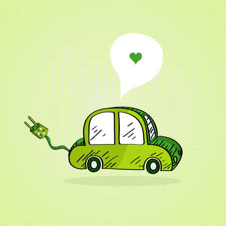clean air: Sketch style green electric car, love social media bubble