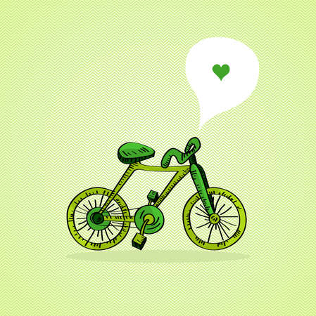 Hand drawn green bike, love social media bubble   Vector