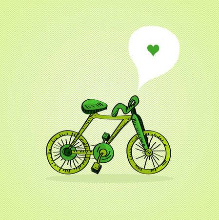 heart tone: Hand drawn green bike, love social media bubble   Illustration