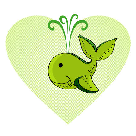 heart tone: Dibujado a mano ballena verde ilustraci�n forma de coraz�n
