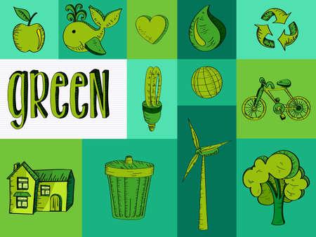 renewable resources: Sketch style green renewable resources symbols illustration
