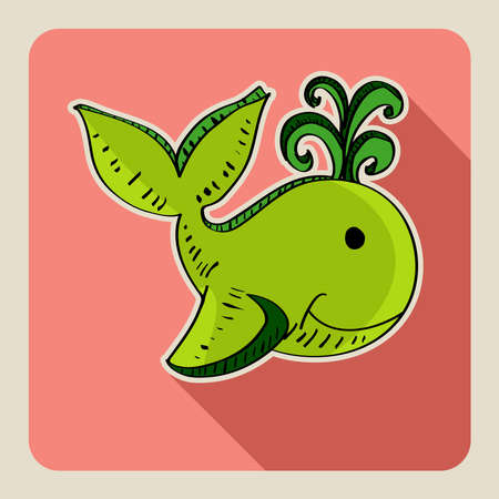 Sketch style green whale illustration   Vector