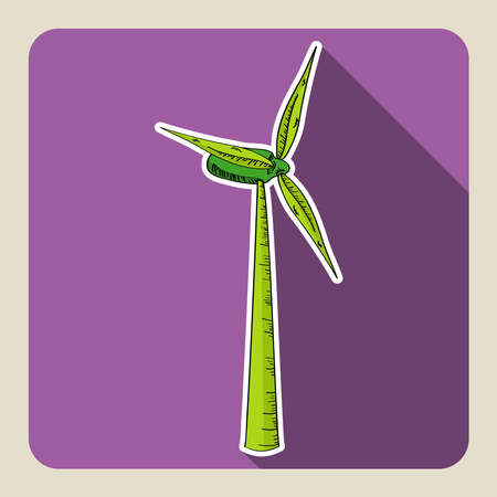 Sketch style Wind Turbine illustration  Vector