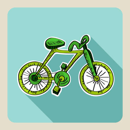 Sketch style green bicycle illustration Vector