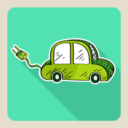 Hand drawn green eco friendly car   Vector