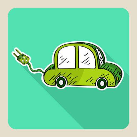Hand drawn green eco friendly car Stock Vector - 21508004