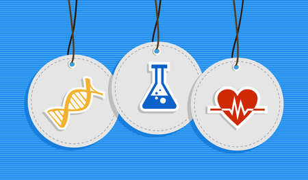 md: Health care hang tags dna chemistry bottle heart beat illustration set.