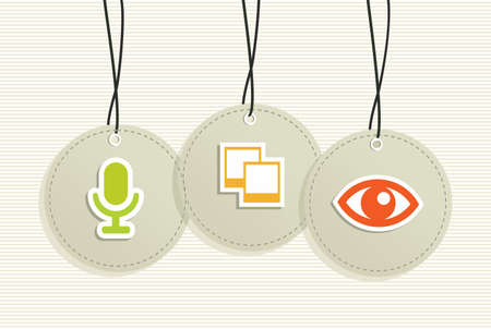 Multimedia hang tags set: microphone instant photo eye. Vector