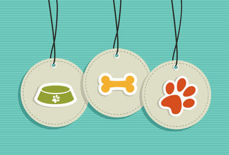 pets: Animal pets hang tags food plate bone paw illustration set.