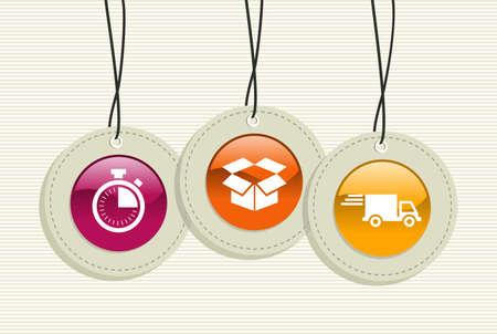 hang up: Shipping hang tags stopwatch box truck illustration set.