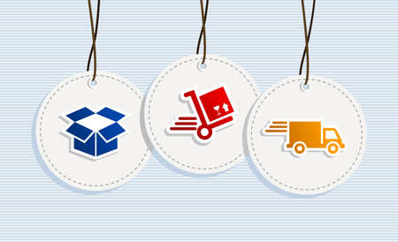 fast delivery: Delivery hang tags box cart truck illustration set.  Illustration