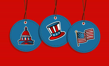 congress: USA patriotic icons flag, congress, hat hang tags illustration set