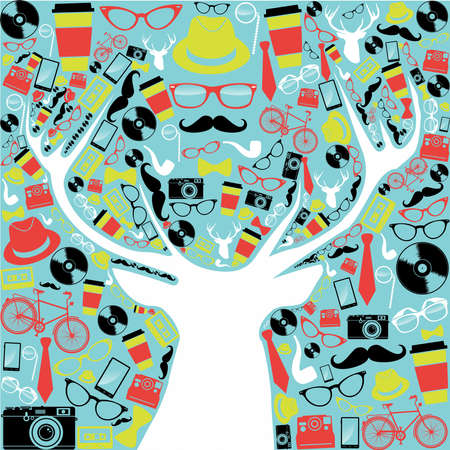 hipsters: Colorful retro hipsters icons reindeer shape illustration   Illustration