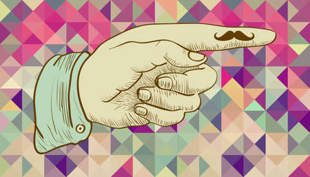 cool people: Vintage hipsters icons human hand mustache, triangles background