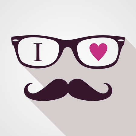 Retro hipsters icons love concept, isolated background   Vector