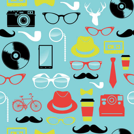 instant coffee: Vintage hipster icons seamless pattern illustration  Illustration