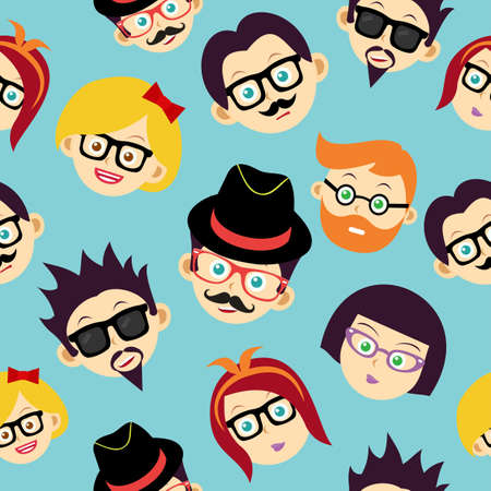 trendy male: Retro hipsters happy faces seamless pattern illustration