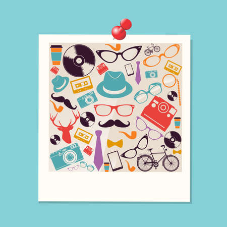 instant coffee: Colorful vintage hipsters icons instant photo illustration  Illustration