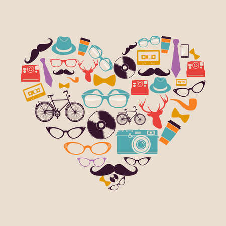 instant coffee: Retro hipsters icons heart shape illustration