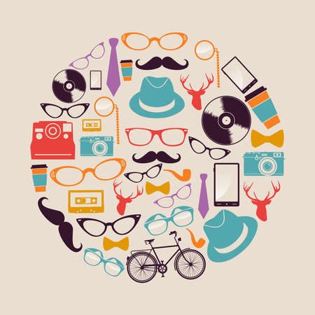 Retro fashion hipsters icons circle shape illustration   Vector