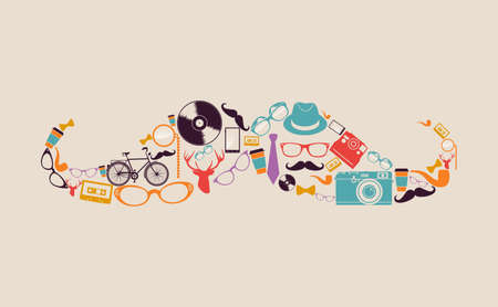 instant coffee: Vintage fashion hipsters icons mustache shape illustration