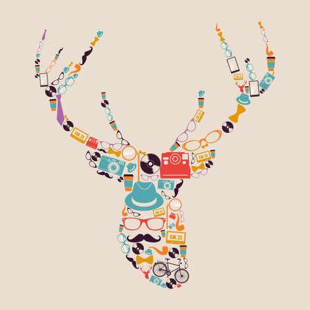 instant coffee: Vintage fashion hipsters icons reindeer shape illustration   Illustration