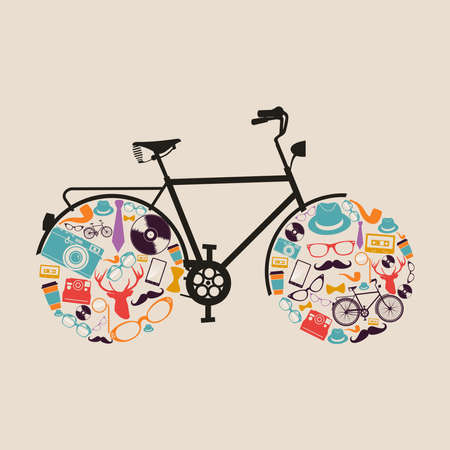 vintage clothing: Retro fashion hipsters icons bicycle illustration