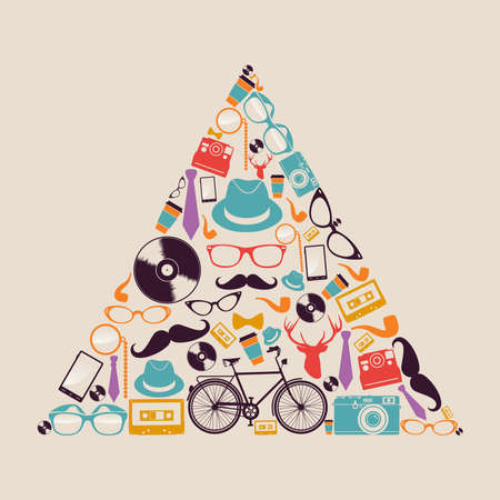 Vintage fashion hipsters icons triangle shape illustration   Vector