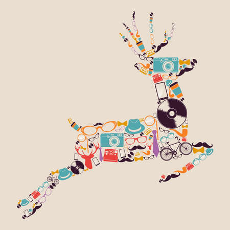 Vintage fashion hipsters icons reindeer illustration  Vector
