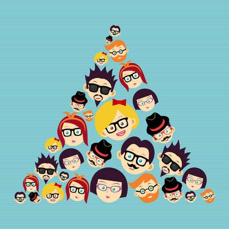 triangle shape: Retro fashion hipsters happy faces  triangle shape illustration