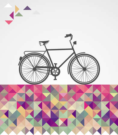 pink bike: Vintage fashion hipsters bike over triangles illustration