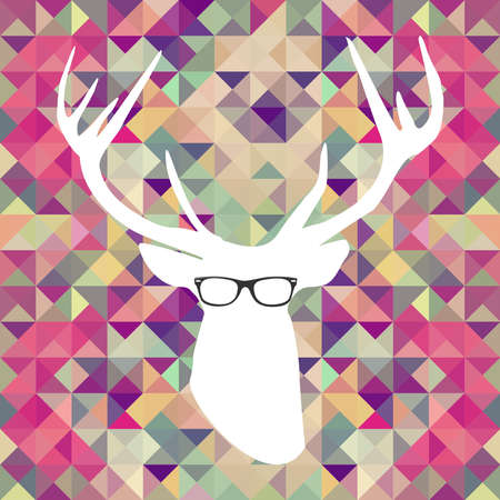 Vintage hipster icons reindeer glasses triangle background  Vector