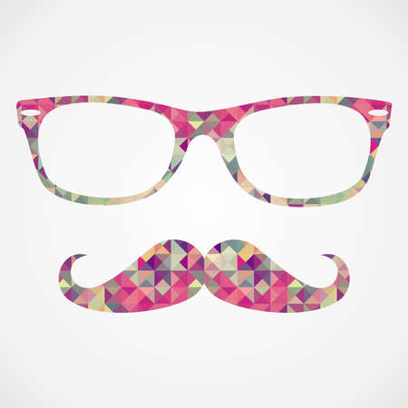 カラフルなビンテージ ヒップスター アイコン口ひげとメガネ顔三角形白地に分離