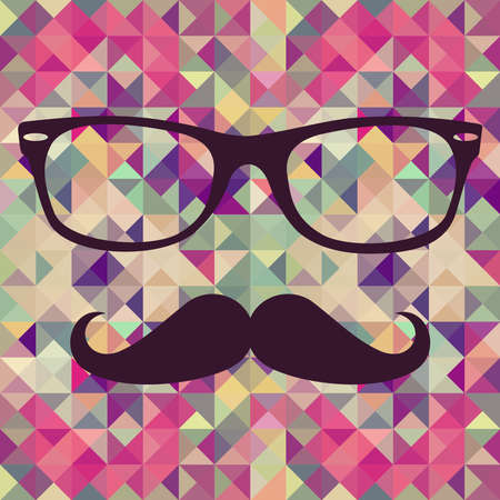 Colorful retro hipsters mustache and glasses face over triangle seamless pattern