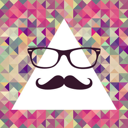 Colorful retro hipsters mustache and glasses face triangles Stock Vector - 21509456