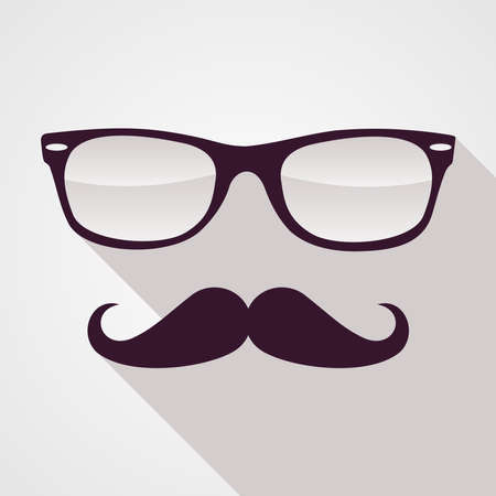 Colorful retro hipsters mustache and glasses face isolated over white background   Vector