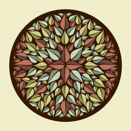 Circle flower leaf mandala illustration   Stock Vector - 21509459