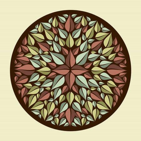 fanciful: Circle flower leaf mandala illustration   Illustration