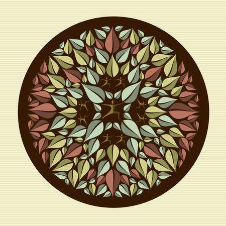 Circle leaf human mandala illustration   Stock Vector - 21509460