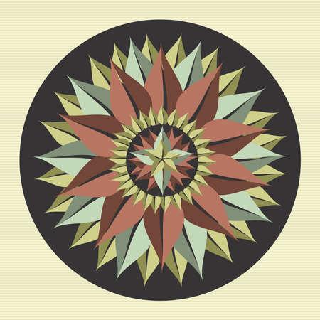 flor loto: Círculo deja yoga mandala ilustración