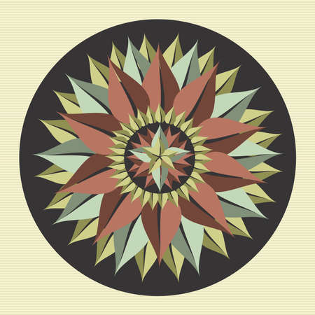 Circle leaves yoga mandala illustration  Vector