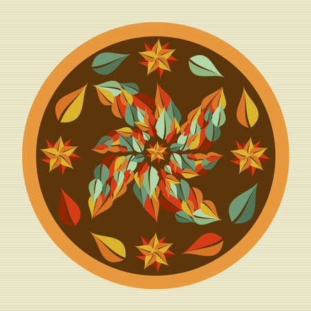 Circle leaf yoga mandala illustration  Stock Vector - 21509463