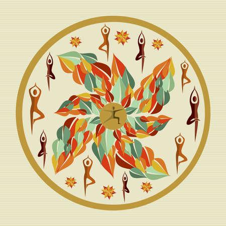 Circle leaf human mandala illustration  Stock Vector - 21509464