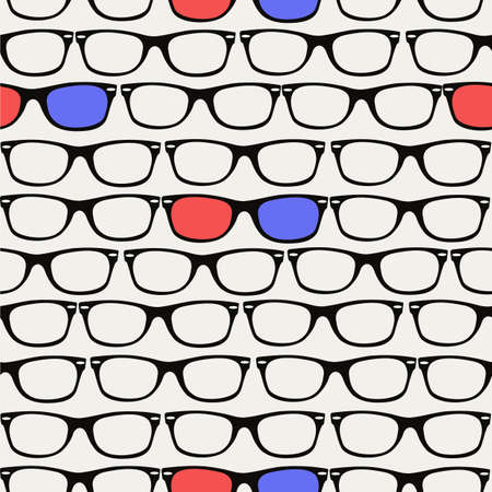 3D glasses: Vintage 3D glasses seamless pattern background.  Illustration